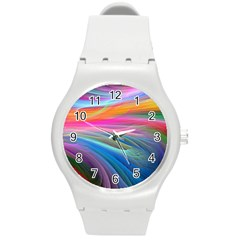 Rainbow Feather Round Plastic Sport Watch (m) by AllOverIt