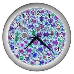 Lovely Shapes 3b Wall Clocks (silver)  by MoreColorsinLife