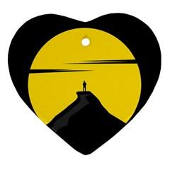 Man Mountain Moon Yellow Sky Ornament (heart) by Nexatart