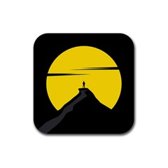 Man Mountain Moon Yellow Sky Rubber Square Coaster (4 Pack)  by Nexatart