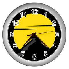 Man Mountain Moon Yellow Sky Wall Clocks (silver)  by Nexatart