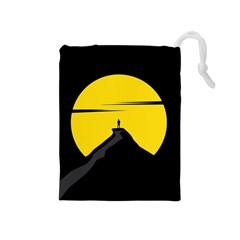 Man Mountain Moon Yellow Sky Drawstring Pouches (medium)