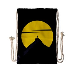 Man Mountain Moon Yellow Sky Drawstring Bag (small) by Nexatart