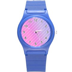 Diagonal Pink Stripe Gradient Round Plastic Sport Watch (s) by Nexatart