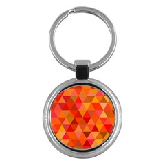 Red Hot Triangle Tile Mosaic Key Chains (round)  by Nexatart