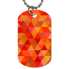 Red Hot Triangle Tile Mosaic Dog Tag (two Sides) by Nexatart