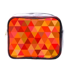 Red Hot Triangle Tile Mosaic Mini Toiletries Bags by Nexatart