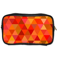 Red Hot Triangle Tile Mosaic Toiletries Bags 2 Side by Nexatart