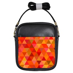 Red Hot Triangle Tile Mosaic Girls Sling Bags by Nexatart