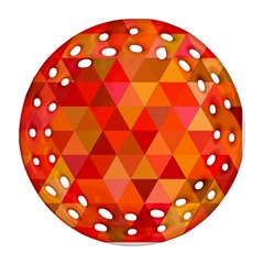 Red Hot Triangle Tile Mosaic Round Filigree Ornament (two Sides) by Nexatart