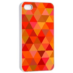 Red Hot Triangle Tile Mosaic Apple Iphone 4/4s Seamless Case (white) by Nexatart