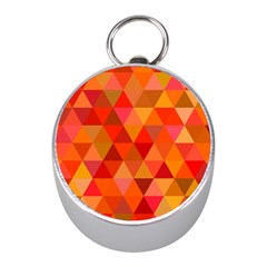 Red Hot Triangle Tile Mosaic Mini Silver Compasses by Nexatart