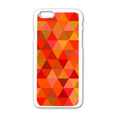 Red Hot Triangle Tile Mosaic Apple Iphone 6/6s White Enamel Case by Nexatart