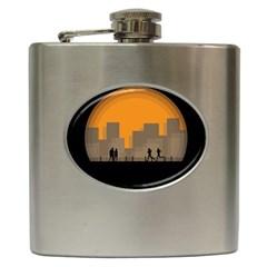 City Buildings Couple Man Women Hip Flask (6 Oz) by Nexatart