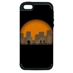 City Buildings Couple Man Women Apple Iphone 5 Hardshell Case (pc+silicone) by Nexatart