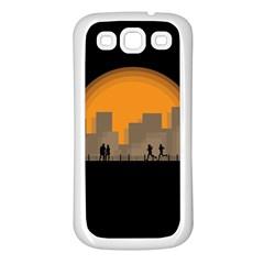 City Buildings Couple Man Women Samsung Galaxy S3 Back Case (white)