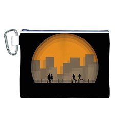 City Buildings Couple Man Women Canvas Cosmetic Bag (l) by Nexatart