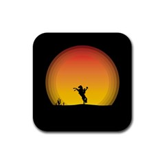 Horse Cowboy Sunset Western Riding Rubber Square Coaster (4 Pack)  by Nexatart