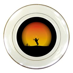 Horse Cowboy Sunset Western Riding Porcelain Plates by Nexatart
