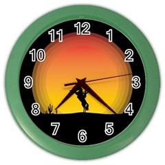 Horse Cowboy Sunset Western Riding Color Wall Clocks by Nexatart
