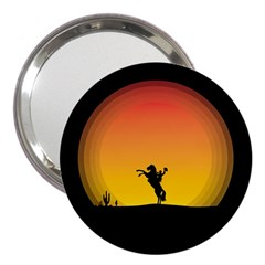 Horse Cowboy Sunset Western Riding 3  Handbag Mirrors by Nexatart