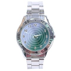 Teal Background Concentric Stainless Steel Analogue Watch by Nexatart