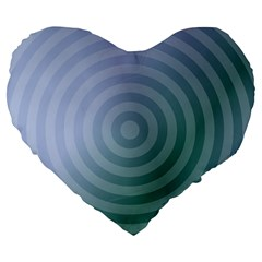 Teal Background Concentric Large 19  Premium Heart Shape Cushions by Nexatart