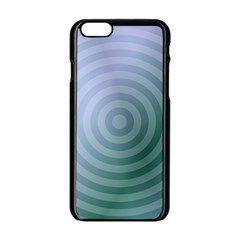 Teal Background Concentric Apple Iphone 6/6s Black Enamel Case by Nexatart