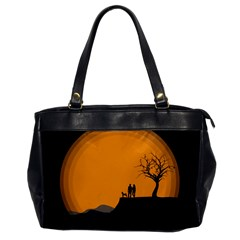 Couple Dog View Clouds Tree Cliff Office Handbags by Nexatart