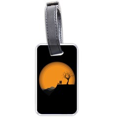 Couple Dog View Clouds Tree Cliff Luggage Tags (one Side)  by Nexatart