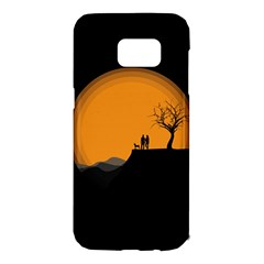 Couple Dog View Clouds Tree Cliff Samsung Galaxy S7 Edge Hardshell Case