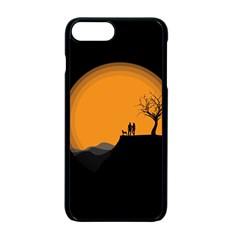 Couple Dog View Clouds Tree Cliff Apple Iphone 7 Plus Seamless Case (black) by Nexatart