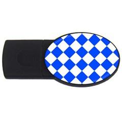 Blue White Diamonds Seamless Usb Flash Drive Oval (4 Gb) by Nexatart