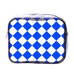 Blue White Diamonds Seamless Mini Toiletries Bags by Nexatart