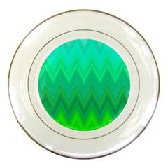 Green Zig Zag Chevron Classic Pattern Porcelain Plates by Nexatart