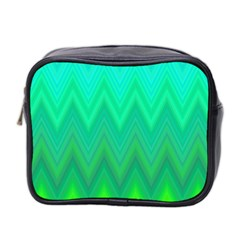 Green Zig Zag Chevron Classic Pattern Mini Toiletries Bag 2 Side by Nexatart