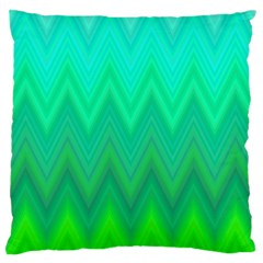 Green Zig Zag Chevron Classic Pattern Large Flano Cushion Case (two Sides) by Nexatart