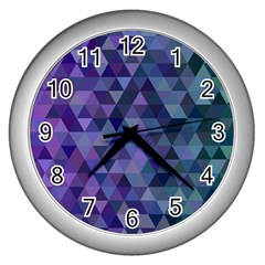 Triangle Tile Mosaic Pattern Wall Clocks (silver)  by Nexatart