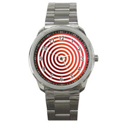 Concentric Red Rings Background Sport Metal Watch by Nexatart