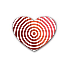 Concentric Red Rings Background Rubber Coaster (heart)  by Nexatart