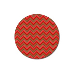 Background Retro Red Zigzag Magnet 3  (round) by Nexatart