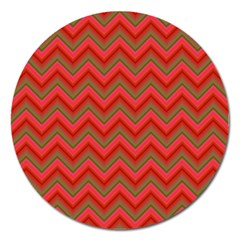 Background Retro Red Zigzag Magnet 5  (round) by Nexatart