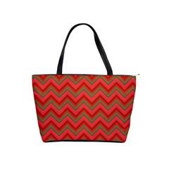 Background Retro Red Zigzag Shoulder Handbags