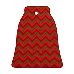 Background Retro Red Zigzag Bell Ornament (two Sides) by Nexatart