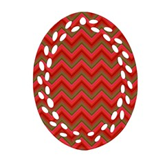 Background Retro Red Zigzag Oval Filigree Ornament (two Sides) by Nexatart