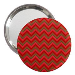 Background Retro Red Zigzag 3  Handbag Mirrors by Nexatart