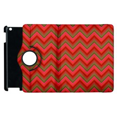Background Retro Red Zigzag Apple Ipad 3/4 Flip 360 Case by Nexatart