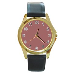 Blush Gold Coppery Pink Solid Color Round Gold Metal Watch by PodArtist