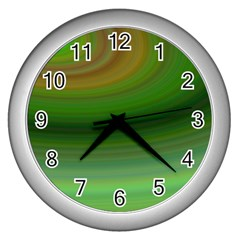 Green Background Elliptical Wall Clocks (silver)  by Nexatart