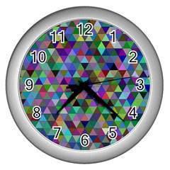 Triangle Tile Mosaic Pattern Wall Clocks (silver)  by Nexatart